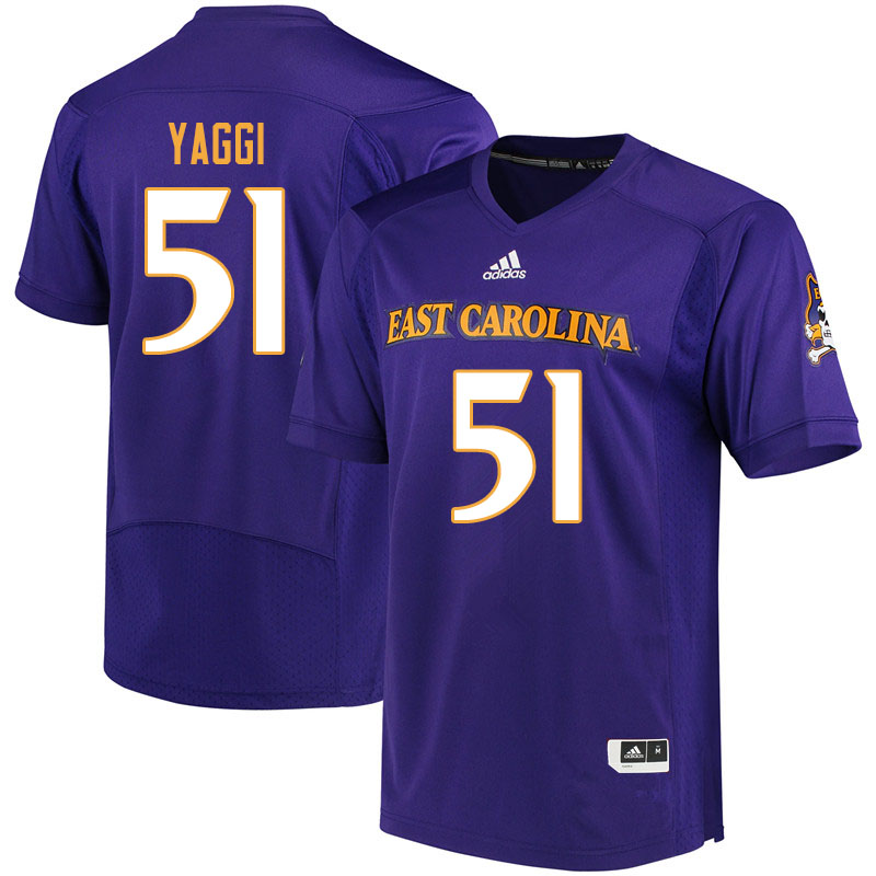 Men #51 Zack Yaggi ECU Pirates College Football Jerseys Sale-Purple