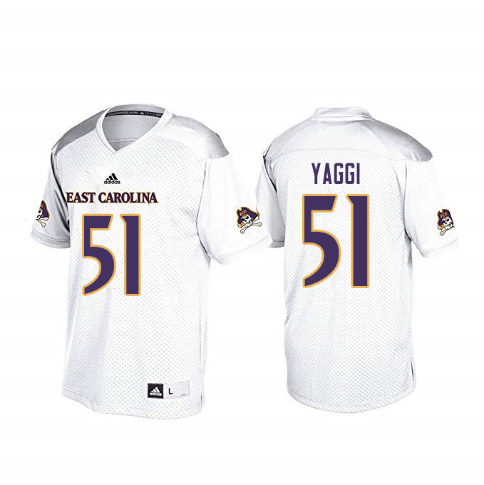 Men #51 Zack Yaggi ECU Pirates College Football Jerseys Sale-White